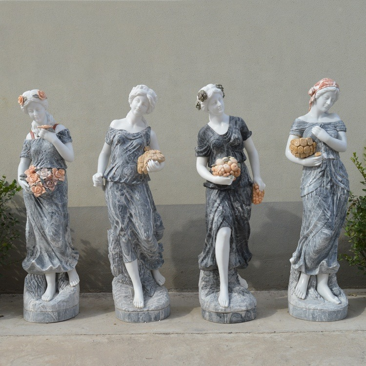 colored marble statues