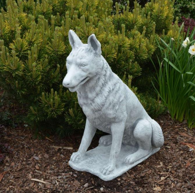 stone german shepherd statue