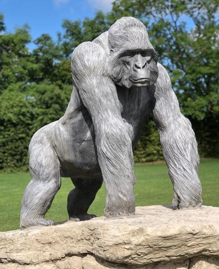 stone gorilla statue