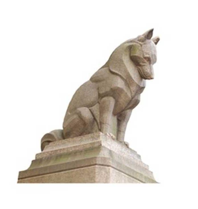 stone wolf statue
