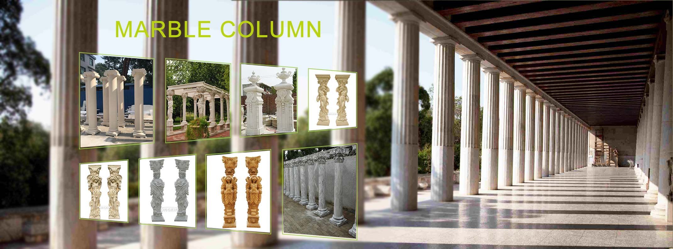 Marble column Statue