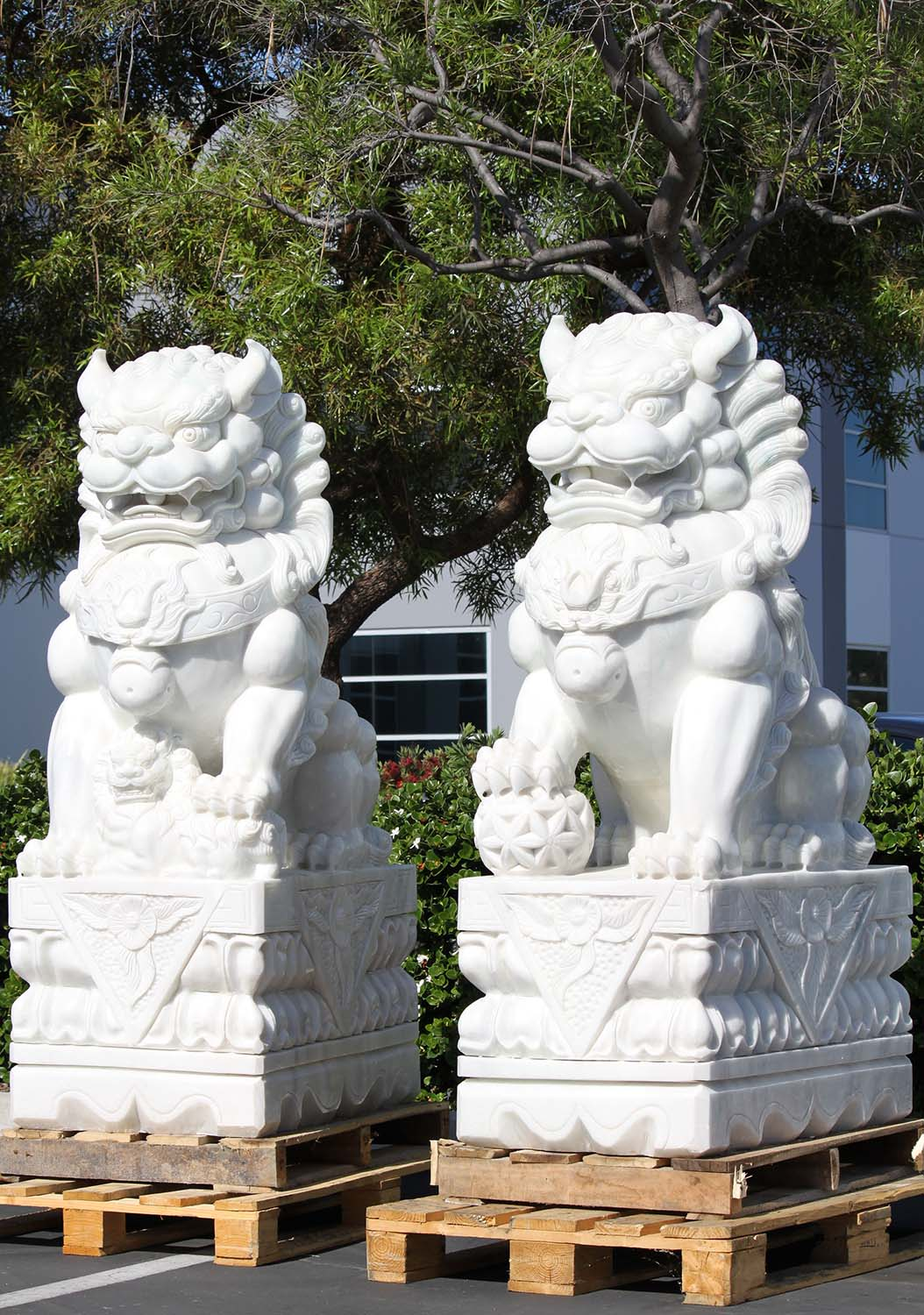 White Marble Large Foo Dogs Sculptures