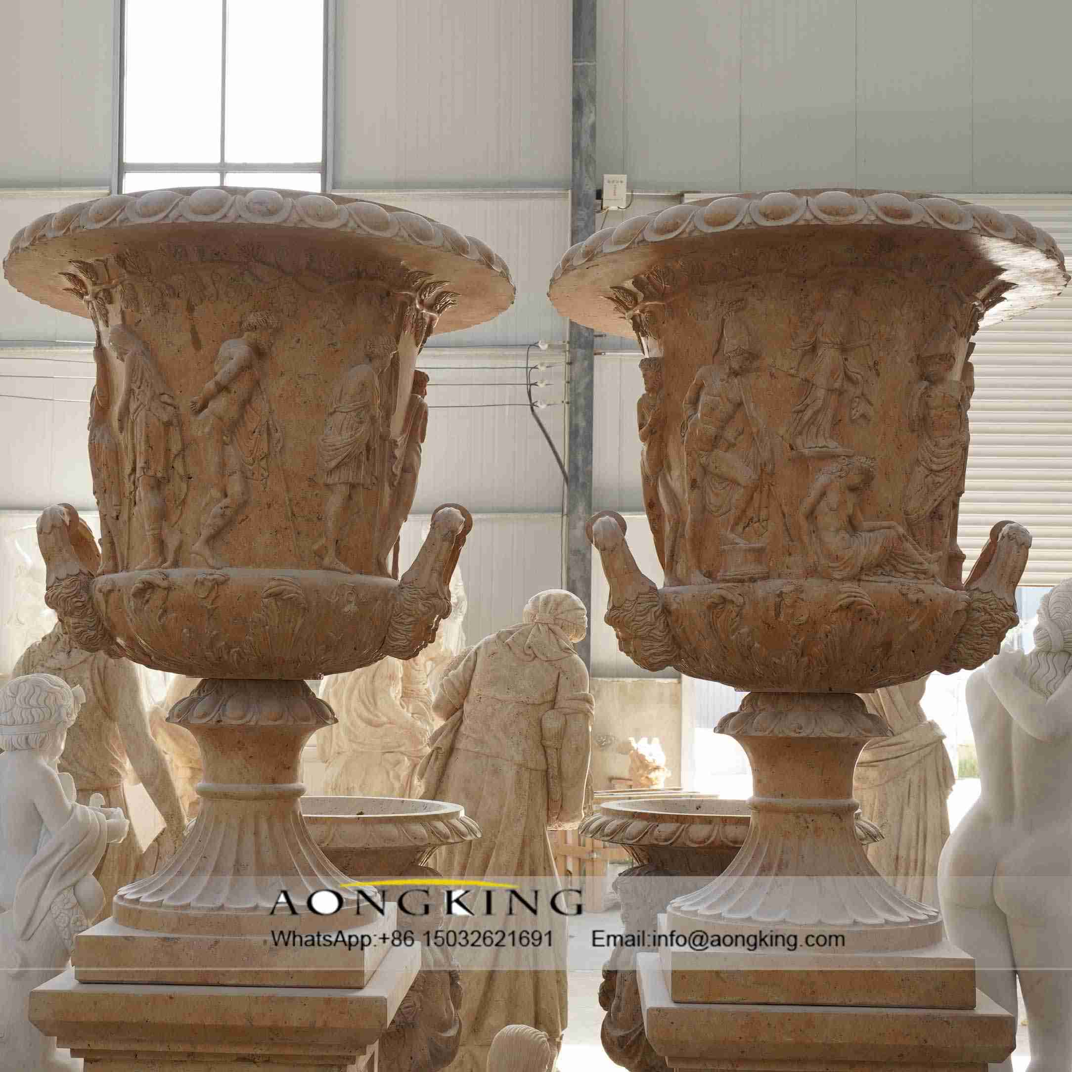 relief roman flower pot