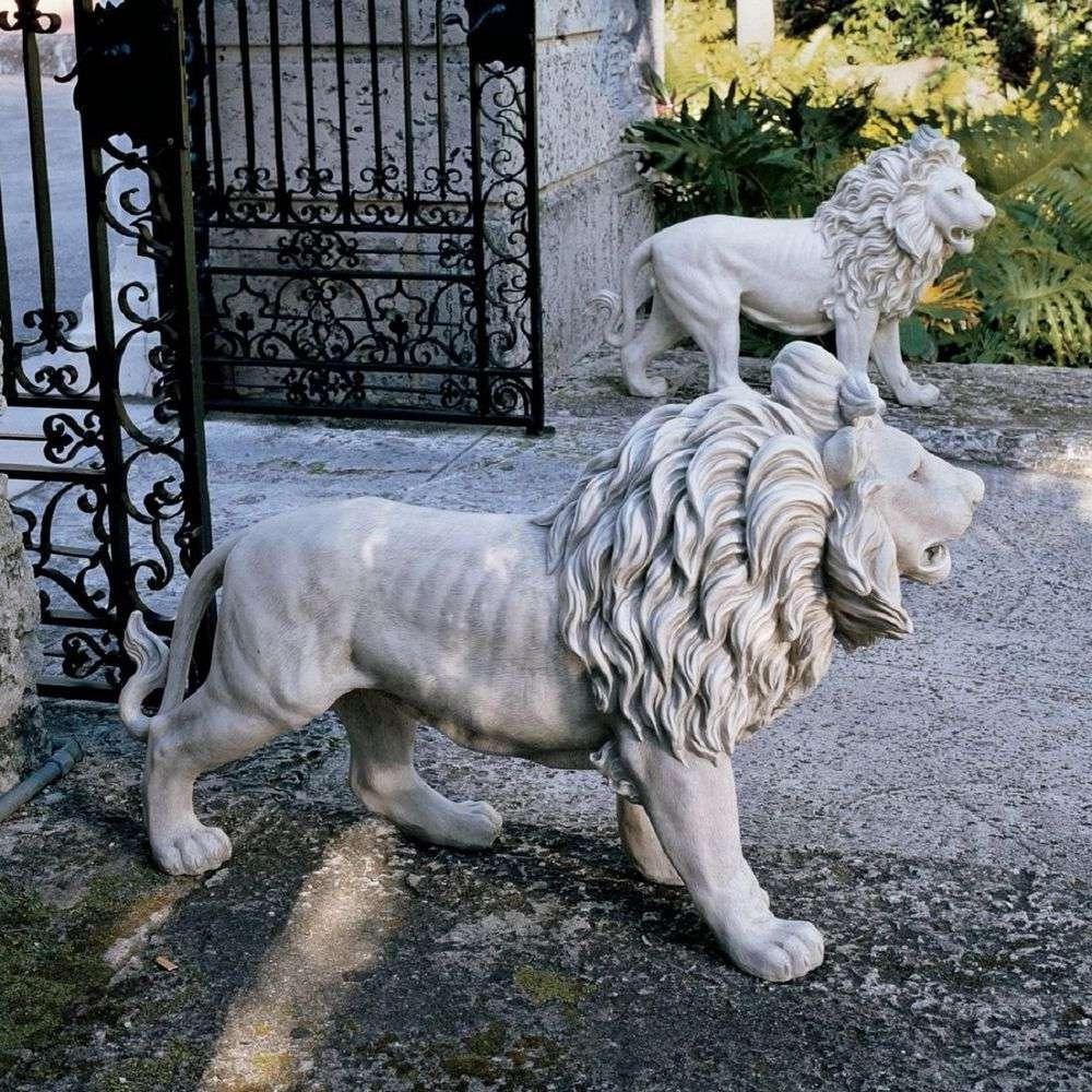 lion statues outside house